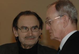 Tadeusz Malak i autor tekstu. Gala Języka Ojczystego 20 lutego 2013. Fot. Lech Laskowski.